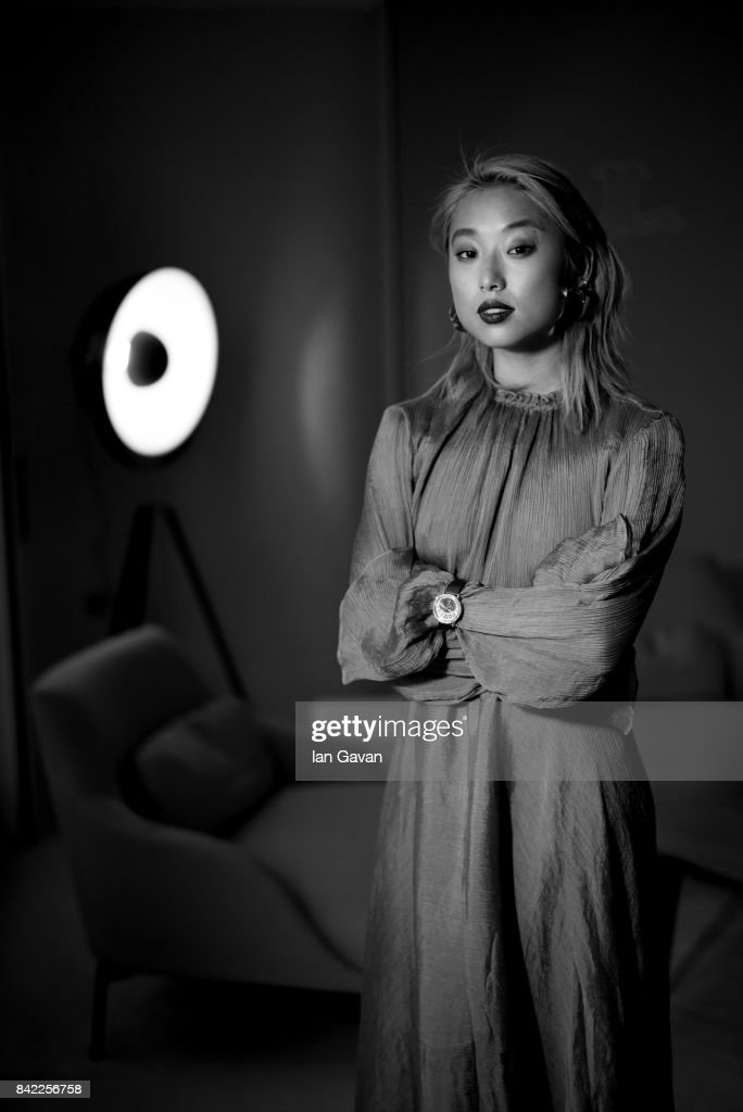 Margaret Zhang wearing a Jaeger-LeCoultre Rendez-Vous Moon watch poses for a portrait during the 74th Venice Film Festival in the Jaeger-LeCoultre lounge at Hotel Excelsior on September 3, 2017 in Venice, Italy.