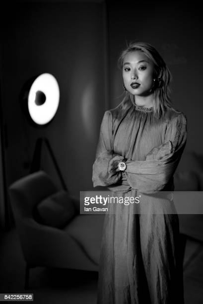 Margaret Zhang wearing a JaegerLeCoultre RendezVous Moon watch poses for a portrait during the 74th Venice Film Festival in the JaegerLeCoultre...