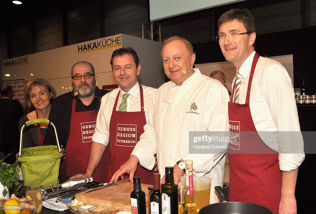 Margareta Reichsthaler, Erwin Steinhauer, Niki Berlakovich, Alfons Schuhbeck and Alois Huber attend the cooking duel during the 3rd Cook & Look fair, a part of Vienna Holiday Fair, on January 10, 2013 in Vienna, Austria.