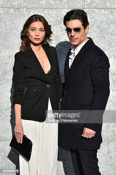Margareth Made and Giuseppe Zeno attend the Emporio Armani show during Milan Men's Fashion Week Fall/Winter 2016/17 on January 18 2016 in Milan Italy