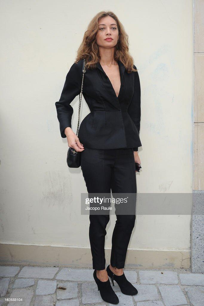 Margareth Made arrives at Giambattista Valli Feshion Show during Paris Fashion Week Womenswear SS14 Day 7 on September 30 2013 in Paris France