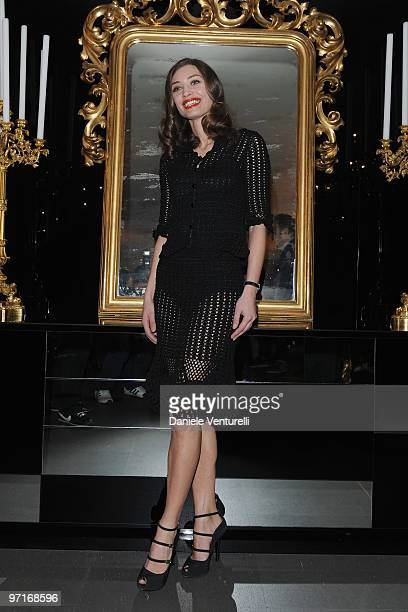 Margareth Made attends the Dolce Gabbana Milan Fashion Week Autumn/Winter 2010 show on February 28 2010 in Milan Italy