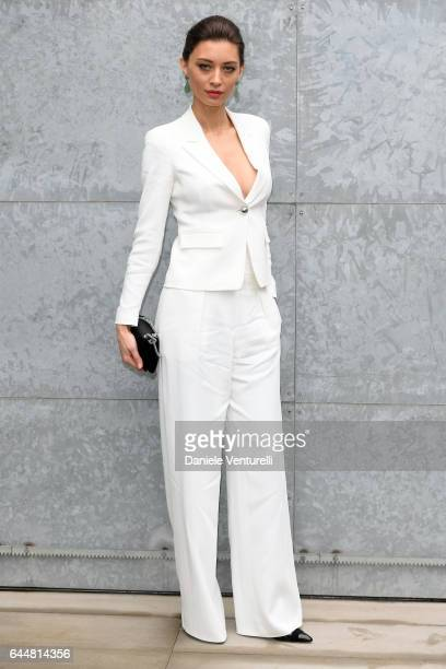 Margareth Made attends the Emporio Armani show during Milan Fashion Week Fall/Winter 2017/18 on February 24 2017 in Milan Italy