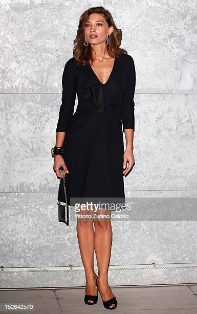 Margareth Made attends the Giorgio Armani Spring/Summer 2013 fashion show as part of Milan Womenswear Fashion Week on September 23 2012 in Milan Italy