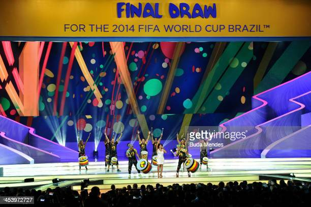 Margareth Menezes and Olodum perform on stage during the Final Draw for the 2014 FIFA World Cup Brazil at Costa do Sauipe Resort on December 6 2013...