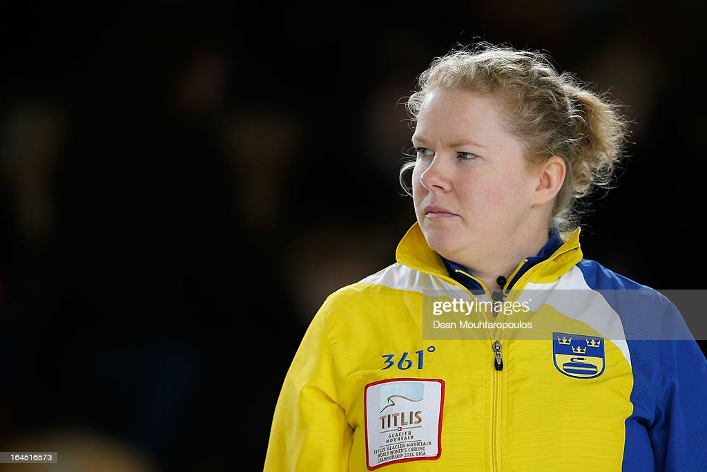 Margaretha Sigfridsson of Sweden looks on during the Gold medal match between Sweden and Scotland on Day 9 of the Titlis Glacier Mountain World Women's Curling Championship at the Volvo Sports Centre on March 24, 2013 in Riga, Latvia.