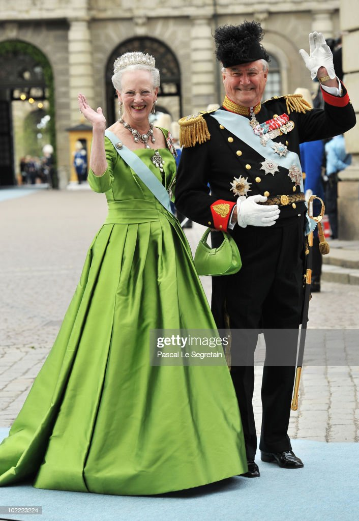 Margarethe II and Prince Henrik of Denmark attend the Wedding of Crown Princess Victoria of Sweden and Daniel Westling on June 19, 2010 in Stockholm, Sweden.