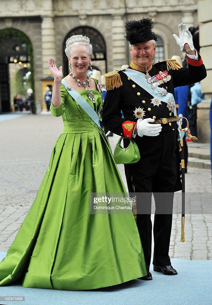 Margarethe II and Prince Henrik of Denmark attend the Wedding of Crown Princess Victoria of Sweden and Daniel Westling on June 19, 2010 in Stockholm, Sweden.