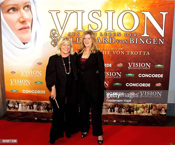 Margarethe von Trotta and Barbara Sukowa pose on the red carpet as they arrive for the premiere of the film 'Vision From The Life Of Hildegard Von...
