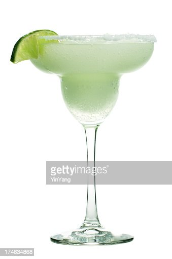 Margarita Cocktail Drink in Glass, Frozen Alcohol with Lime, Salt