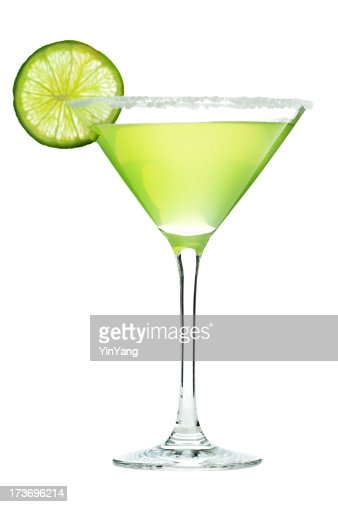 Margarita Cocktail Drink in Martini Glass with Salt and Lime