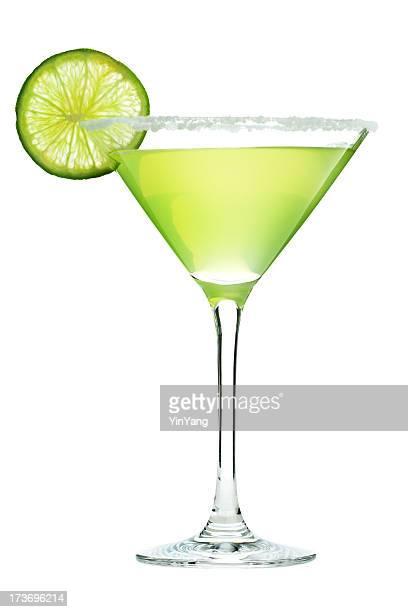 Margarita-Cocktail im Martini-Glas mit Salz und Limette