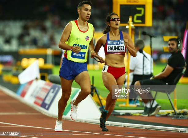 Margarita Faundez of Chile and Guida Francisco Munoz compete Women's 1500m T11 Final during World Para Athletics Championships Day Three at London...