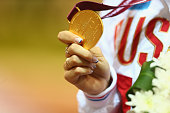 Margarita Goncharova of Russia poses with her gold medal for the women's 200m T38 final during the Evening Session on Day Eight of the IPC Athletics...