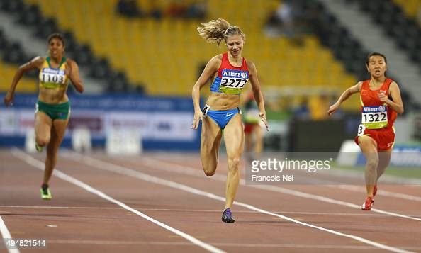 Margarita Goncharova of Russia wins the women's 200m T38 final during the Evening Session on Day Eight of the IPC Athletics World Championships at...