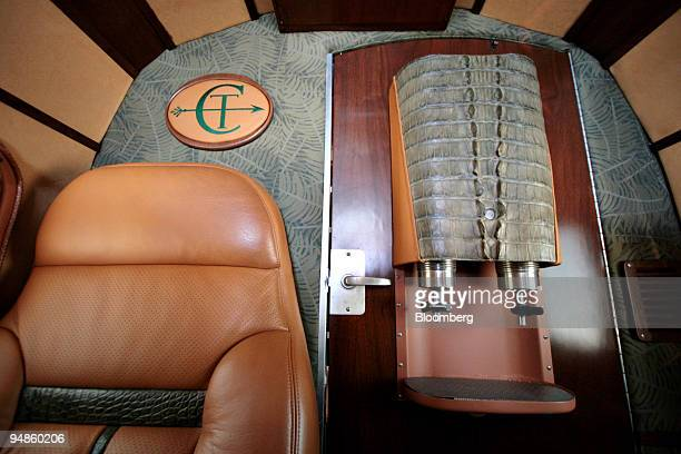 A margarita machine is covered by alligator skin inside a 1950's reconditioned twinengine Beechcraft plane owned by contemporary Arab art dealer Don...