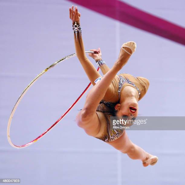 Margarita Mamun of Russia performs with the hoop during the GAZPROM World Cup Rhythmic Gymnastics at Porsche Arena on March 22 2014 in Stuttgart...