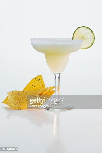 Margarita next to tortilla chips