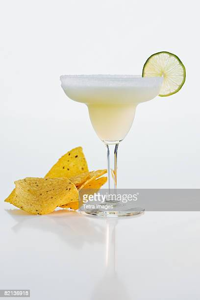 Margarita next to tortilla chips