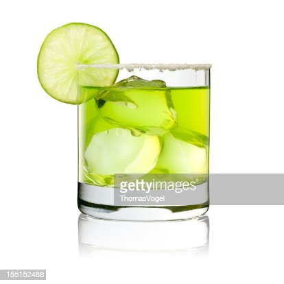 Margarita On The Rocks - Cocktail Glass Lime Green