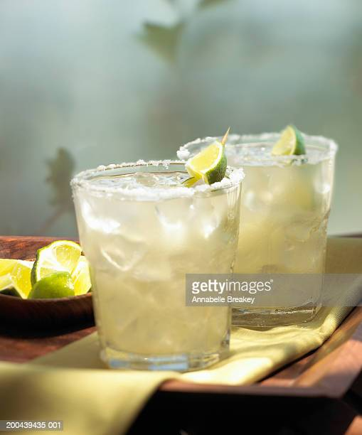 Margaritas on the rocks with lime and salt
