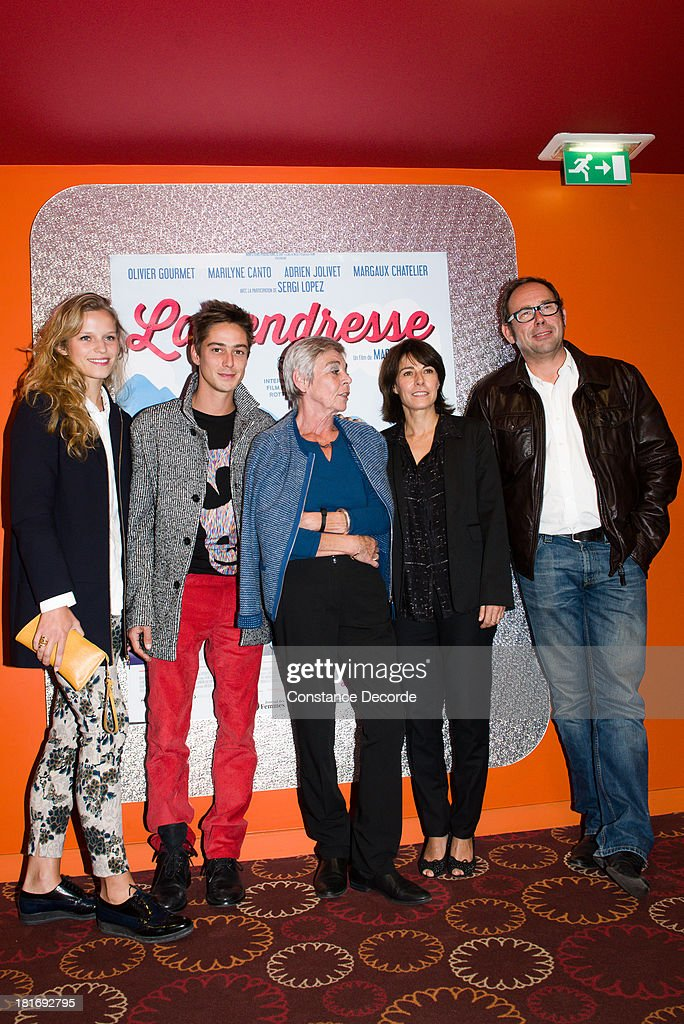 Margaux Chatelier, Adrien Jolivet, Marion Hansel, Marilyne Canto and Olivier Gourmet posing at 'La Tendresse' Premiere on September 23, 2013 in Paris, France.