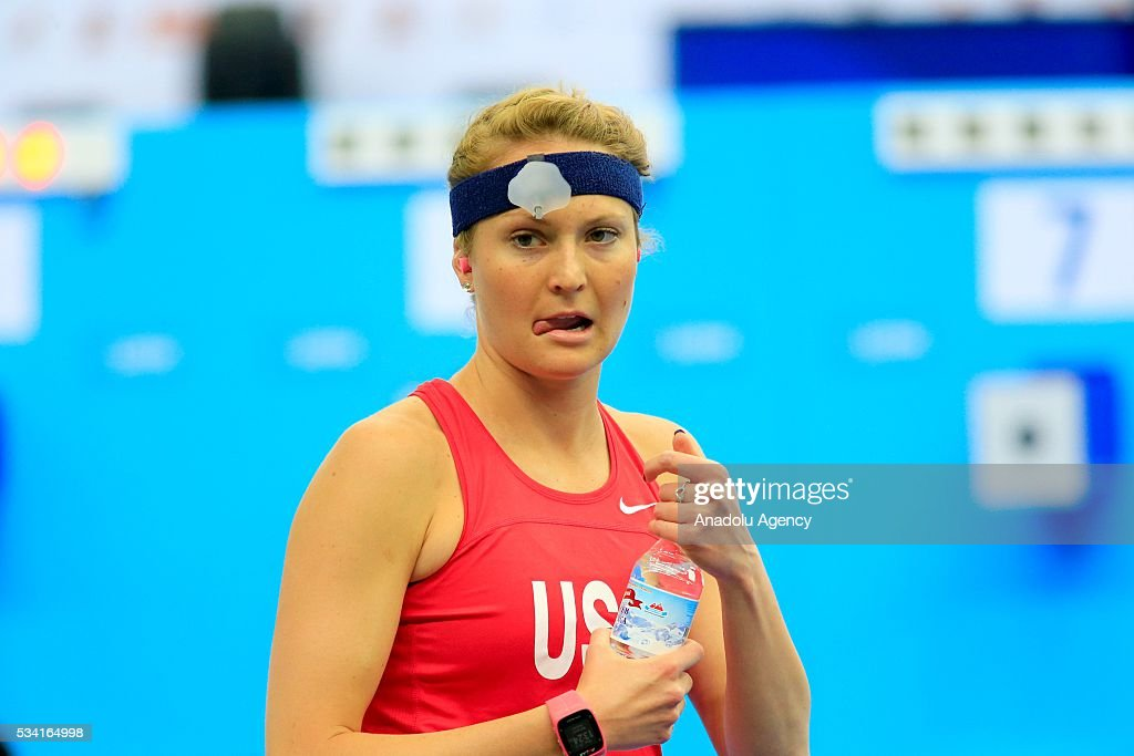 Margaux Isaksen of United States is seen during the Combined of the Women Qualifications at the UIPM senior modern pentathlon world championships in Moscow, Russia, on May 25, 2016.