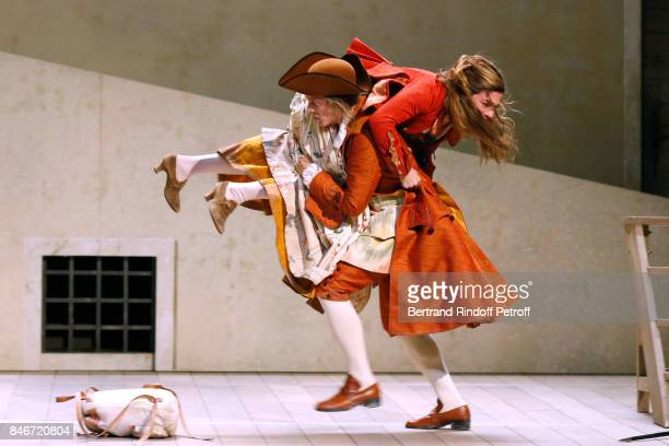 Margaux Van Den Plas and Thibault Lacroix perform in 'Les Jumeaux Venitiens' Press Theater Play at Theatre Hebertot on September 6 2017 in Paris...