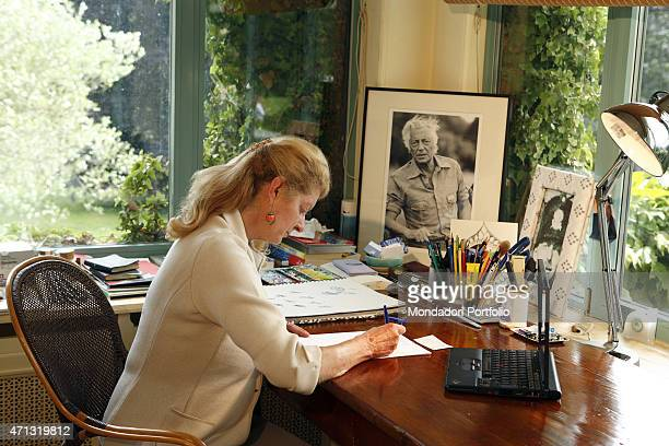 Margherita Agnelli posing at home for a photo shooting for Panorama Rolle Switzerland 4th June 2007