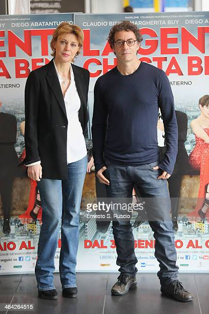 Margherita Buy and director Francesco Patierno attend the 'La Gente Che Sta Bene' Photocall at Cinema Adriano on January 21 2014 in Rome Italy