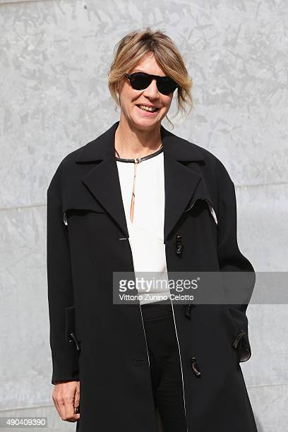 Margherita Buy arrives at the Giorgio Armani show during the Milan Fashion Week on September 28 2015 in Milan Italy