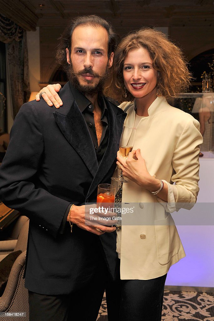 Margherita Chiarva (R) and guest attend the ASMALLWORLD Champagne Diamond Apero at the Gstaad Palace Hotel on December 14, 2012 in Gstaad, Switzerland.