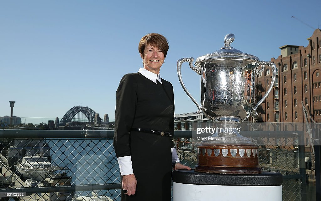 <a gi-track='captionPersonalityLinkClicked' href=/galleries/search?phrase=Margie+Abbott&family=editorial&specificpeople=7149770 ng-click='$event.stopPropagation()'>Margie Abbott</a> poses with the Bledisloe Cup trophy during the 2015 BCF Women In Business & Sport Leaders Lunch at Doltone House, Jones Bay Wharf on August 6, 2015 in Sydney, Australia.