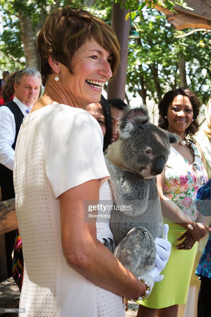 <a gi-track='captionPersonalityLinkClicked' href=/galleries/search?phrase=Margie+Abbott&family=editorial&specificpeople=7149770 ng-click='$event.stopPropagation()'>Margie Abbott</a>, wife of Australia's prime minister Tony Abbott, holds a koala during a visit to a koala sanctuary on the sidelines of the Group of 20 (G-20) summit in Brisbane, Australia, on Saturday, Nov. 15, 2014. Leaders of the world's 20 largest economies including U.S. President Barack Obama and Chinese President Xi Jinping gather in Brisbane this weekend to focus on economic issues. Photographer: Ian Waldie/Bloomberg via Getty Images
