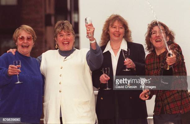 Margie West Philomena Kelly Christine Winter and Maria Martinez of the Camden Council Homeless Persons Unit celebrating in London after learning of...