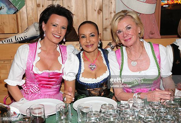 Margit Toennies Jochi Sauerland Liz Mohn Bertelsmann during the 'Sauerland Stammtisch' at Oktoberfest 2015 at Weinzelt /Theresienwiese on September...