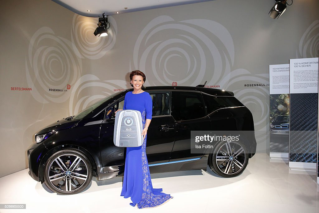 Margit Toennies wins a BMW i3 during the Rosenball 2016 on April 30 2016 in Berlin Germany