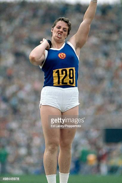 Margitta Gummel of East Germany competing in the women's shot put final during the Summer Olympic Games in Munich Germany circa 1972 Gummel won the...