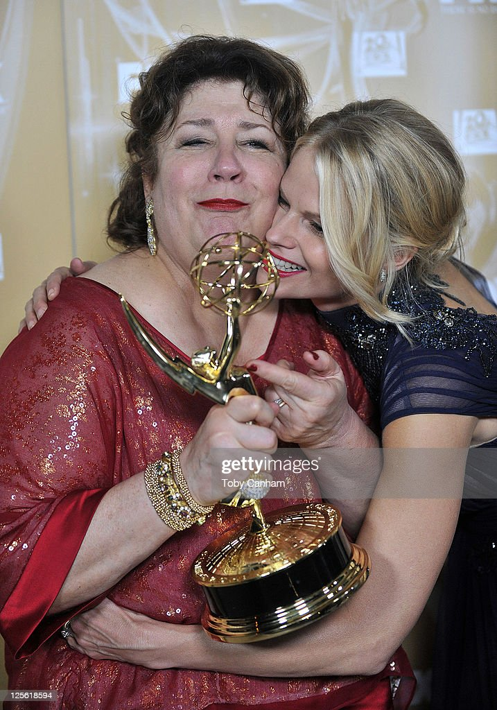 Margo Martindale and Joelle Carter arrive for the Fox Broadcasting Company, Twentieth Century Fox Television And FX 2011 Emmy after party on September 18, 2011 in West Hollywood, California.