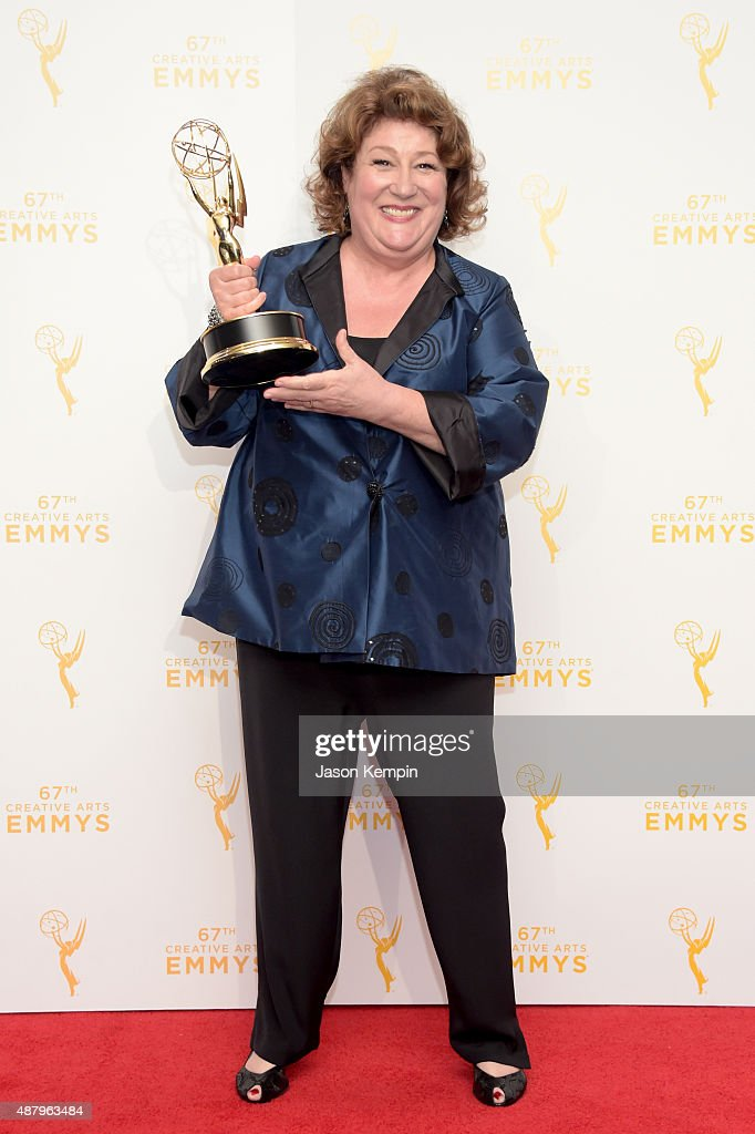 "Margo Martindale winner of the award for outstanding guest actress in a drama series for ""The Americans"" poses in the press room during the 2015..."