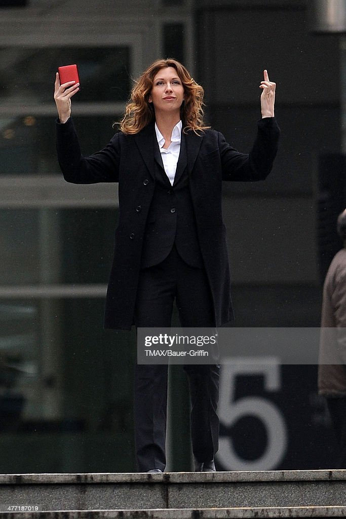 Margo Stilley is seen filming her new movie 'Still Waters' on March 25, 2013 in London, United Kingdom.