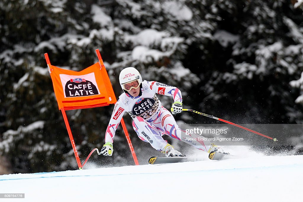 Margot Bailet of France competes during the Audi FIS Alpine Ski World Cup Women's Downhill Training on February 12, 2016 in Crans Montana, Switzerland.