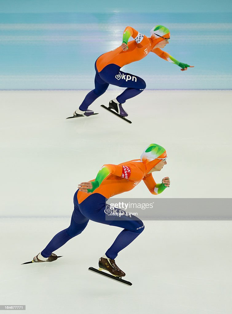 Margot Boer (L) of the Netherlands competes against Thijsje Oenema of the Netherlands during the 500m race on day four of the Essent ISU World Single Distances Speed Skating Championships at the Adler Arena Skating Center on March 24, 2013 in Sochi, Russia.