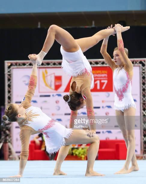 Margot Deschamps Zoe Contargyris Valentine Morgant during 28th European Championships in Acrobatic Gymnastics in Rzeszow Poland on 20 October 2017