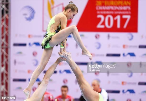 Margot Deschamps Zoe Contargyris Valentine Morgant during 28th European Championships in Acrobatic Gymnastics on 21 October 2017 in Rzeszow Poland