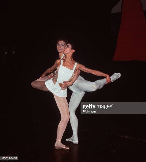 Margot Fonteyn and Rudolf Nureyev in a rehearsal of Roland Petit's new ballet 'Paradise Lost' at Covent Garden in London The ballet is to have its...