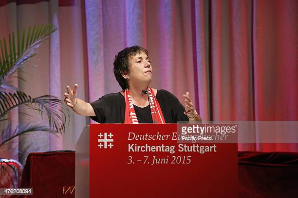 Margot Käßmann the former Chairman of the Council of the EKD speaks about refugees at the 35th German Protestant Church Congress The last full day of...