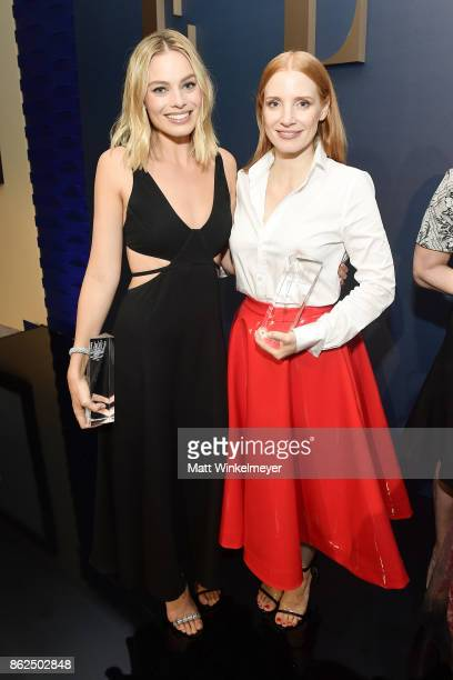 Margot Robbie and Jessica Chastain attend ELLE's 24th Annual Women in Hollywood Celebration presented by L'Oreal Paris Real Is Rare Real Is A Diamond...