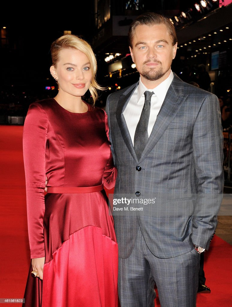 <a gi-track='captionPersonalityLinkClicked' href=/galleries/search?phrase=Margot+Robbie&family=editorial&specificpeople=5781742 ng-click='$event.stopPropagation()'>Margot Robbie</a> (L) and <a gi-track='captionPersonalityLinkClicked' href=/galleries/search?phrase=Leonardo+DiCaprio&family=editorial&specificpeople=201635 ng-click='$event.stopPropagation()'>Leonardo DiCaprio</a> attend the UK Premiere of 'The Wolf Of Wall Street' at Odeon Leicester Square on January 9, 2014 in London, England.