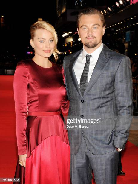 Margot Robbie and Leonardo DiCaprio attend the UK Premiere of 'The Wolf Of Wall Street' at Odeon Leicester Square on January 9 2014 in London England